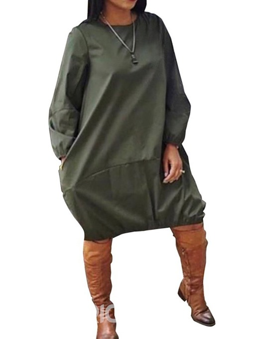 Ericdress Long Sleeve Knee-Length Round Neck Lantern Casual Dress