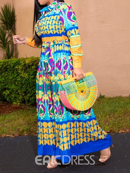 Ericdress Plus Size African Fashion Print Lapel A-Line Geometric Dress