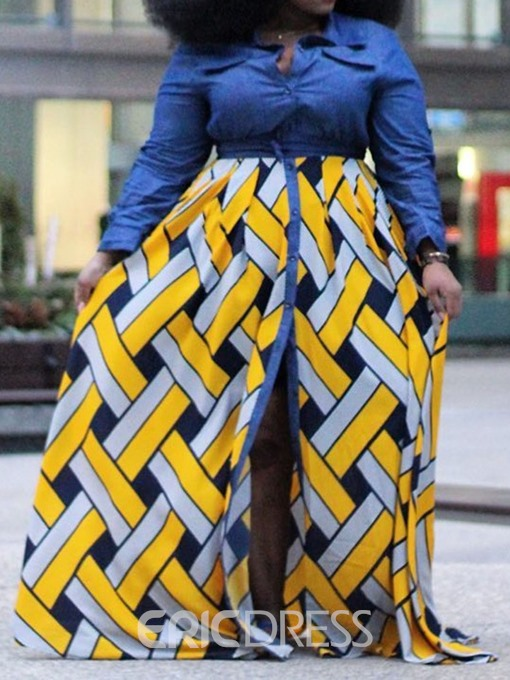 Ericdress Plus Size African Fashion Lapel Floor-Length Patchwork Dress