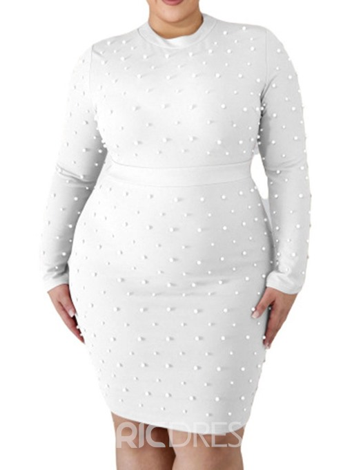 Ericdress Bead Round Neck Knee-Length Pencil Plus Size Dress