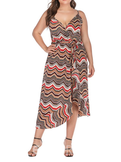 Ericdress Mid-Calf Sleeveless V-Neck Sexy Plus Size Dress