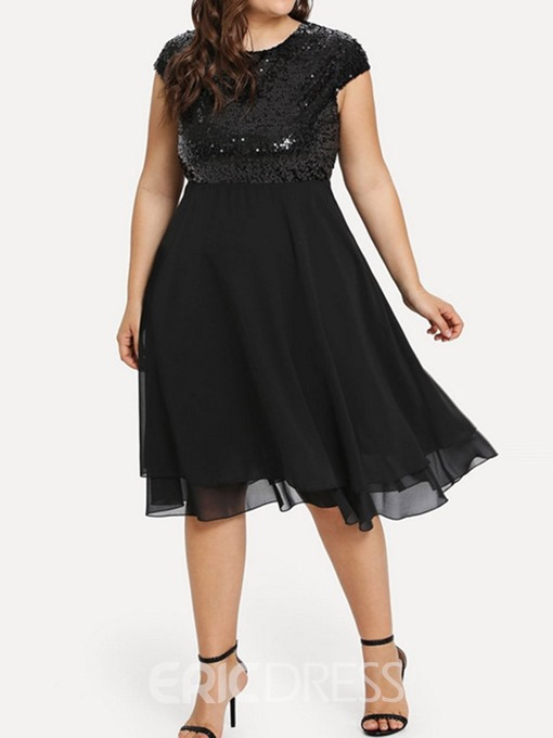 Ericdress Short Sleeve Sequins Knee-Length Plus Size Regular Dress