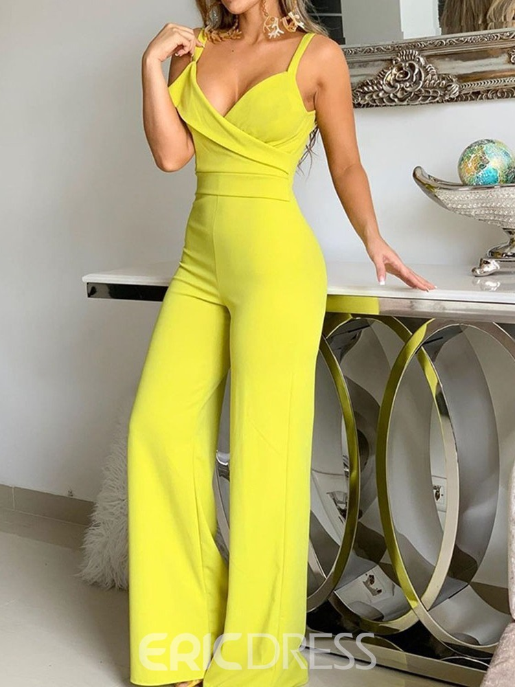 ericdress strap combinaison sexy slim yelllow jambes larges