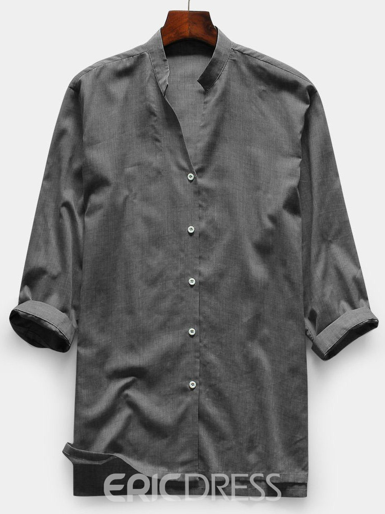 Ericdress Plain Button Casual Mens Slim Shirt
