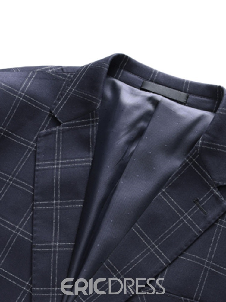 Ericdress Fashion Plaid Blazer Mens Dress Suit