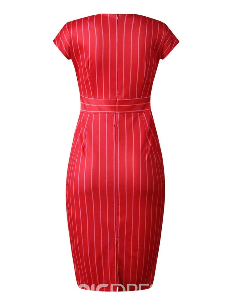 Ericdress V-Neck Short Sleeve Mid-Calf Regular Stripe Dress