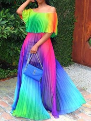 Ericdress Half Sleeve Off Shoulder Floor-Length Pleated Color Block Dress thumbnail