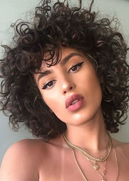 Ericdress Short Kinky Curly Synthetic Hair Wig Natural Looking Lace Front Wigs 16inch