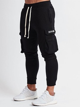 Ericdress Zipper Overall Letter Lace-Up Mens Casual Pants