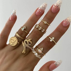 Ericdress Alloy Wild Golden Ring Set
