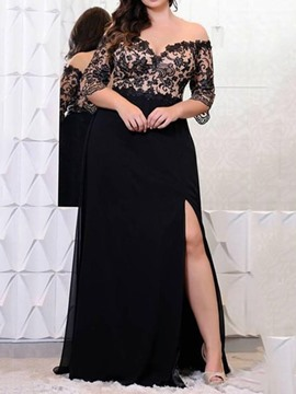 Ericdress Half Sleeve V-Neck Floor-Length Plus Size A-Line Dress
