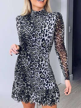 Ericdress Leopard Print Stand Collar Regular Bodycon Dress
