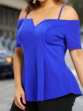 Ericdress Short Sleeve Square Neck Plus Size T-Shirt