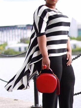 Ericdress Asymmetric Stripe Color Block Plus Size Blouse