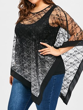 Ericdress Asymmetric Batwing Sleeve Mesh Plus Size Blouse
