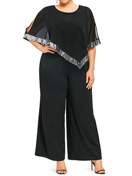 Ericdress Plus Size Mesh Sequins Color Block Loose Jumpsuit