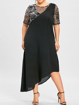 Ericdress Short Sleeve Round Neck Plus Size Cocktail Asymmetrical Dress