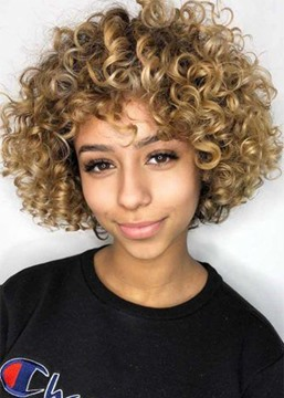 Ericdress Kinky Curly Synthetic Hair Wig for Women Short Curly Hair with Bangs Capless Wig 16inch