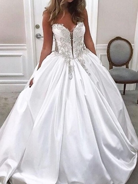 Ericdress Ball Gown Floor-Length V-Neck Sleeveless Hall Wedding Dress 2020