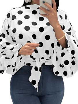 Ericdress Polka Dots Lace-Up Plus Size Blouse