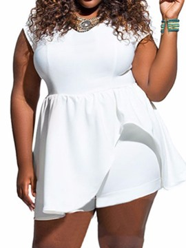 Ericdress Plain Plus Size Loose Romper With Cape