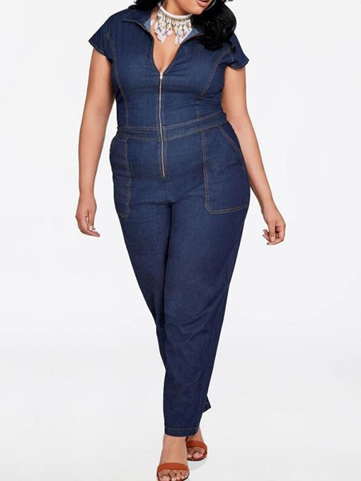 Ericdress Plus Size Full Length Plain Slim Jumpsuit