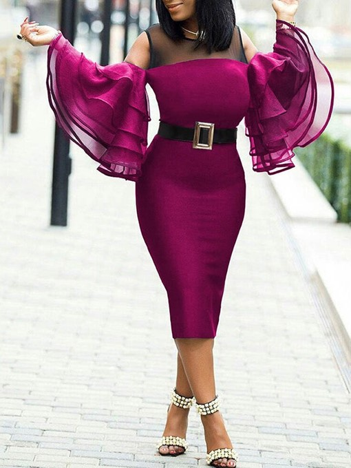 Ericdress Plus Size Round Neck Cocktail Ruffle Sleeve Bodycon Dress(Without Waistband)