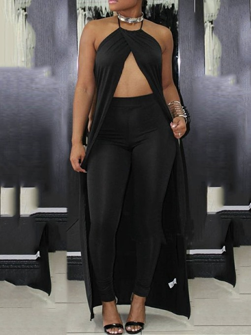 Ericdress Sexy Halter Lace-Up Plain Prom Suits Vest And Pants Two Piece Sets