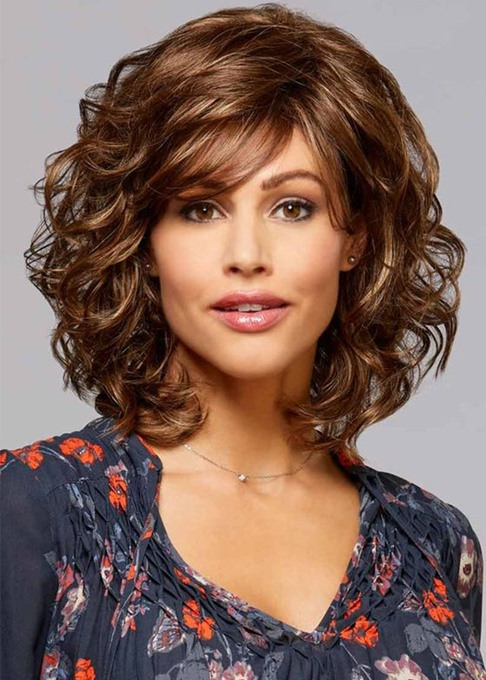 Ericdress Shoulder Length Loose Curly Synthetic Hair Wig Lace Front Cap Wigs 16inch