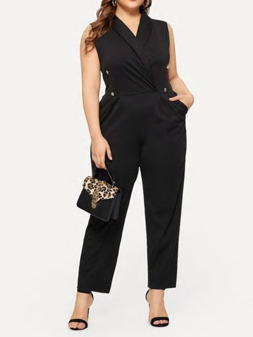Ericdress Plus Size Plain Skinny Dressy Straight Jumpsuit