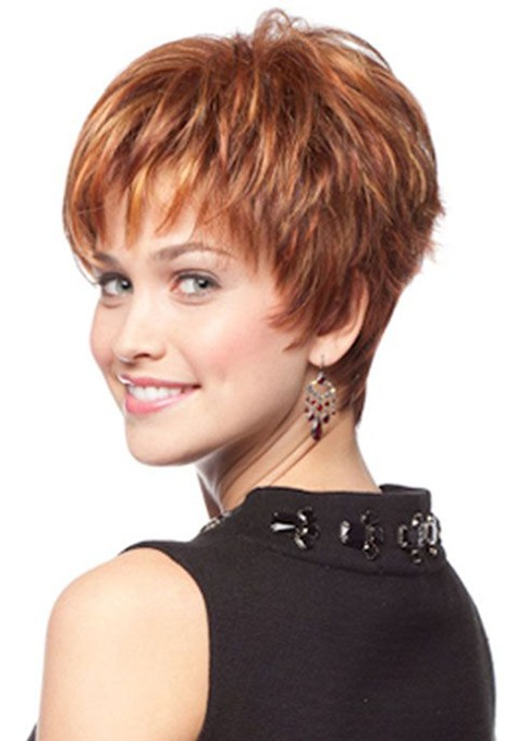 Ericdress Brown Color Short Straight Synthetic Hair Wigs 120% Density Capless Wigs 10inch
