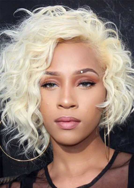 Ericdress Womens Curly Lace Front Cap Wigs Short Length Synthetic Hair Wigs 16inch
