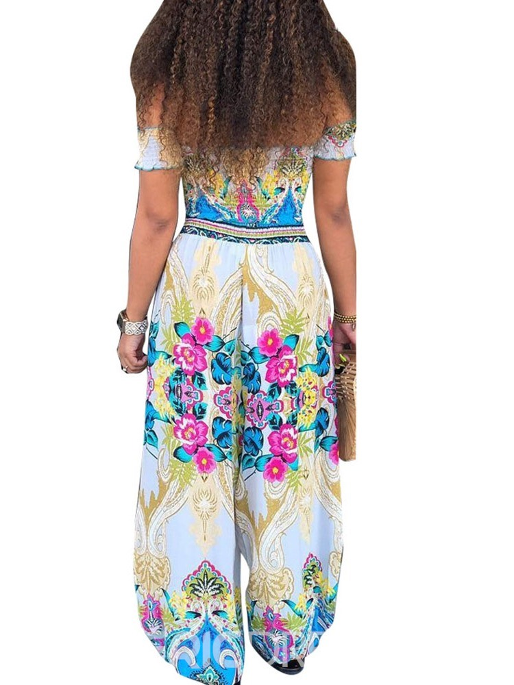 Ericdress Print Floral Off Shoulder T-Shirt And Pants Two Piece Sets