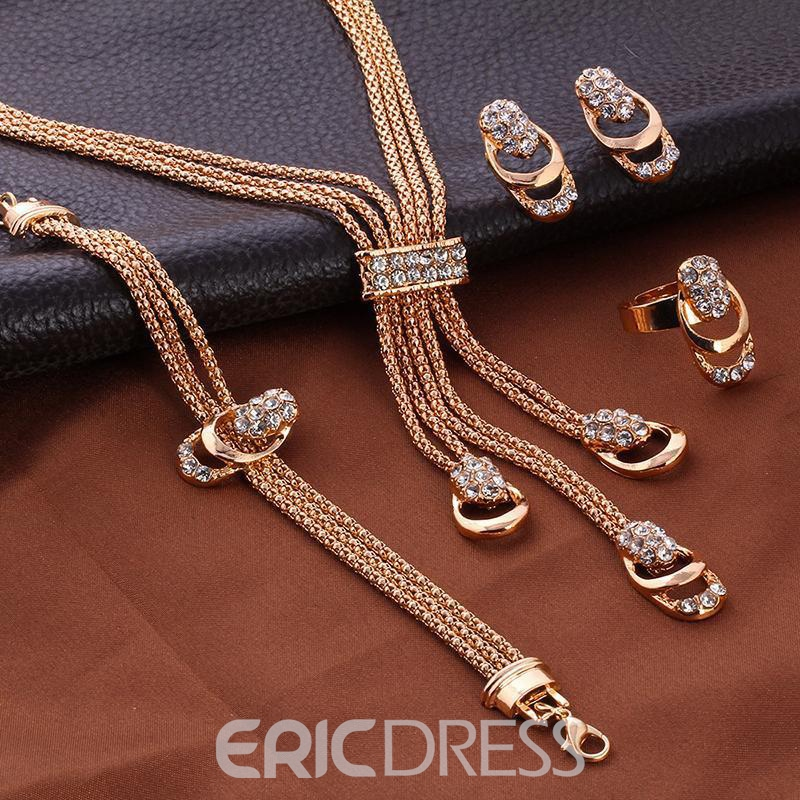 Ericdress Diamante Floral Necklace Jewelry Sets
