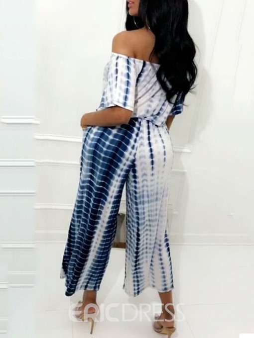 Ericdress Tie-Dye Lace-Up Print Off Shoulder T-Shirt And Pants Two Piece Sets