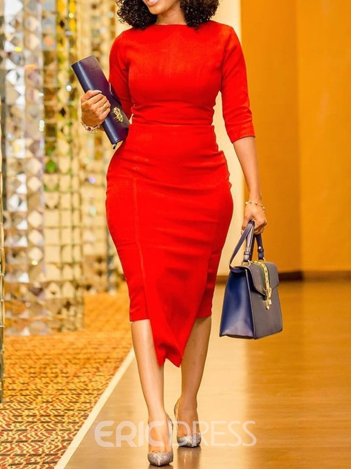 Ericdress Round Neck Asymmetric Half Sleeve Pullover Regular Dress