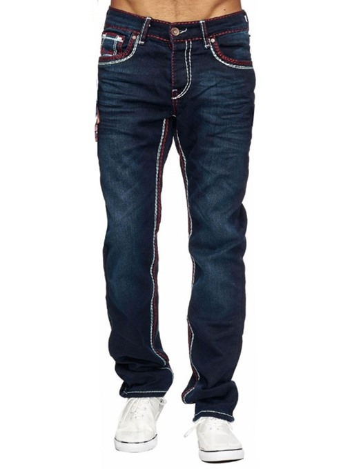 Ericdress Pocket Color Block Straight Mens Zipper Jeans