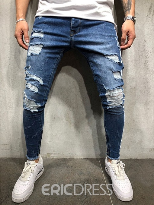 Ericdress Hole Color Block Mid Waist Mens Zipper Jeans