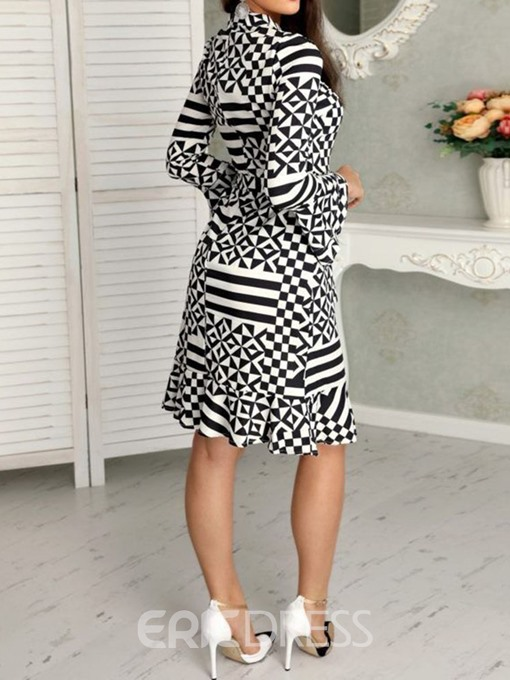 Ericdress Flare Sleeve Round Neck Print Geometric Bodycon Dress