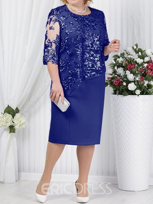 Ericdress Plus Size Round Neck See-Through Bodycon Elegant Dress