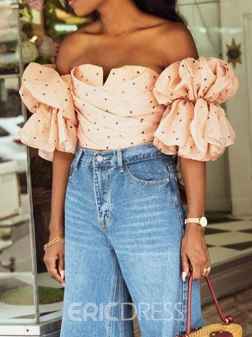 Ericdress Polka Dots Print Off Shoulder Short Sleeve Blouse