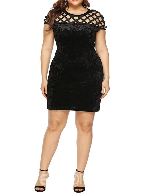 Ericdress Plus Size Hollow Above Knee Plain Regular Dress