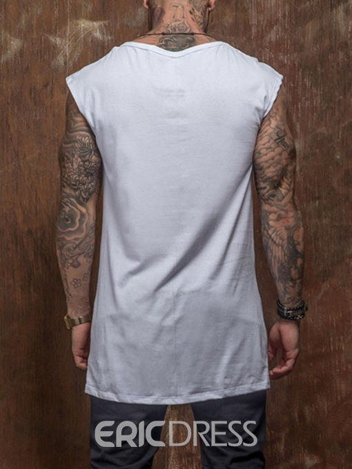 Ericdress Print Letter Round Neck Wrapped Mens Loose T-shirt