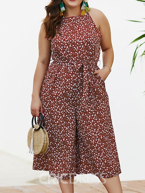 Ericdress Plus Size Print Polka Dots Wide Legs Loose Jumpsuit