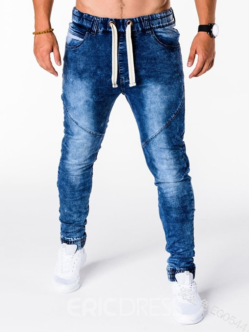 Ericdress Pocket Mid Waist Mens Lace-Up Jeans