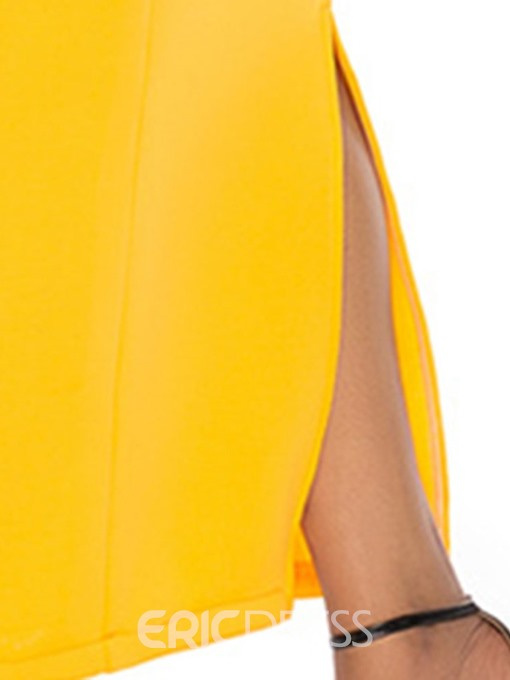 Ericdress Off Shoulder Ankle-Length Bowknot Party Color Block Dress