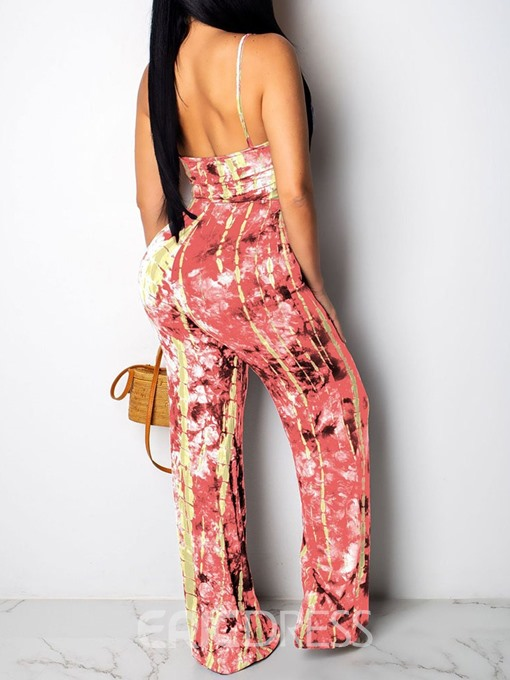 Ericdress Color Block Strap Print Slim Straight Jumpsuit
