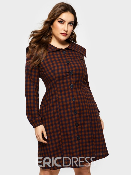 Ericdress Plus Size Mid-Calf Button Long Sleeve Plaid Single-Breasted Dress