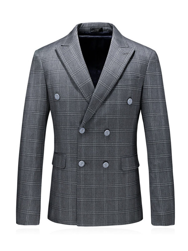 Ericdress Double-Breasted Fashion Blazer Mens Dress Suit