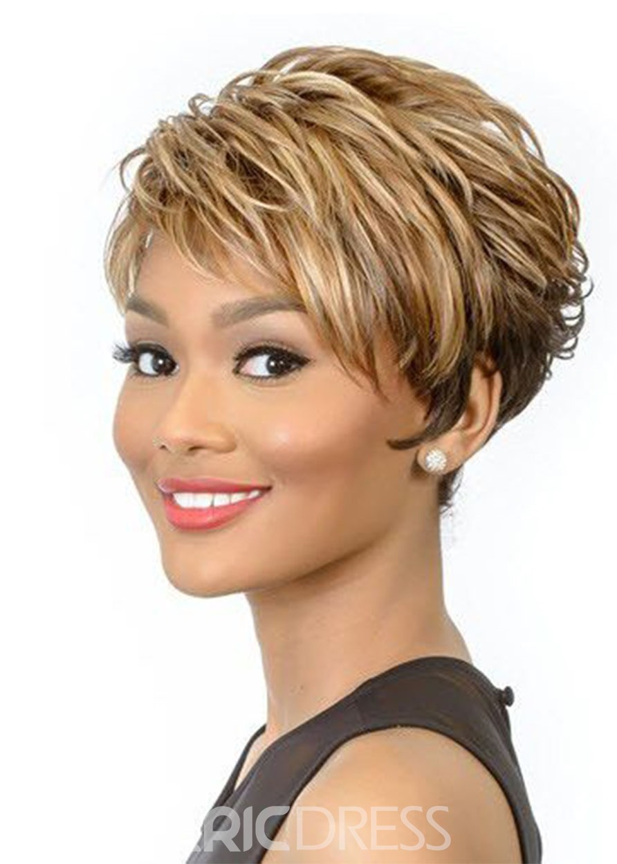 Ericdress Short Length Brown Color Synthetic Hair Lace Front Cap Wigs 12 inch